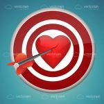 Target with Red Heart Bullseye and Arrow Going Through It